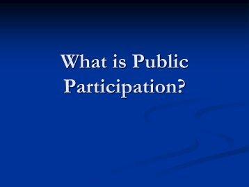 What is Public Participation?