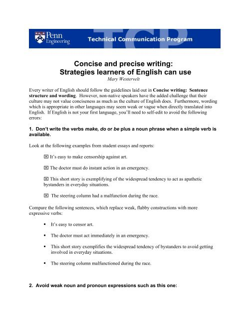 Concise and precise writing: Strategies learners of English