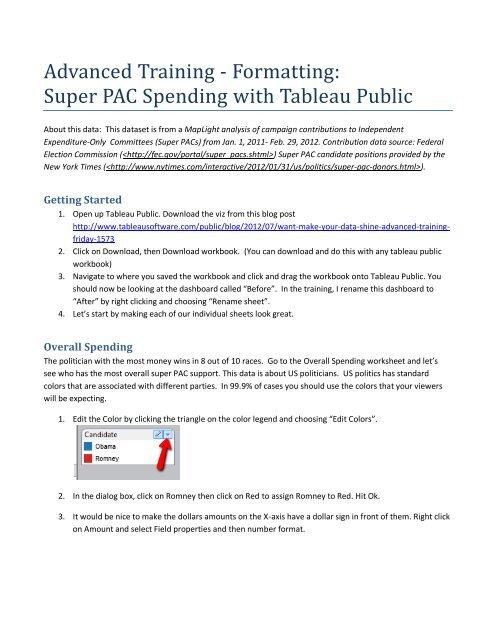 Advanced Training - Formatting: Super PAC     - Tableau Software