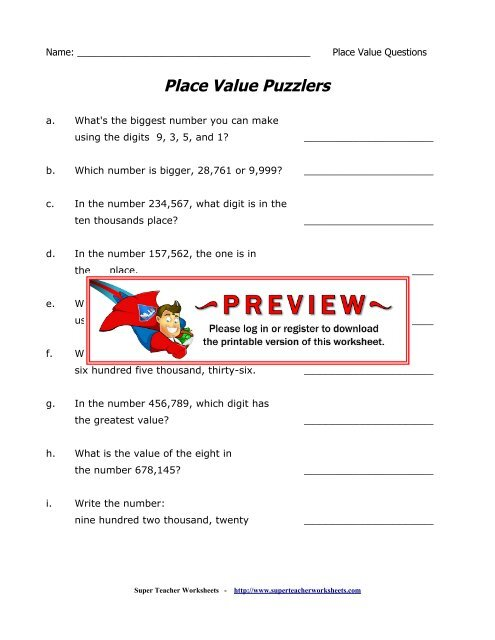 Place Value Puzzlers - Super Teacher Worksheets