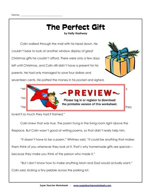The Perfect Gift (Fiction Story) - Super Teacher Worksheets