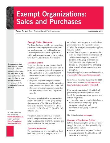 Exempt Organizations: Sales and Purchases - Texas Comptroller of ...