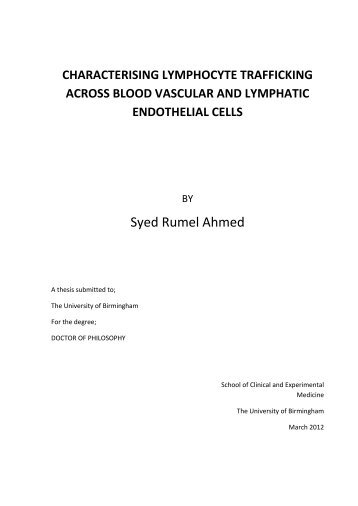 characterising lymphocyte trafficking across blood vascular and ...