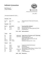 November 2011 bis Juli 2012 - Solitude-Gymnasium