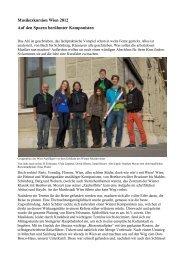 Musikexkursion Wien 2012 Auf den Spuren berühmter Komponisten