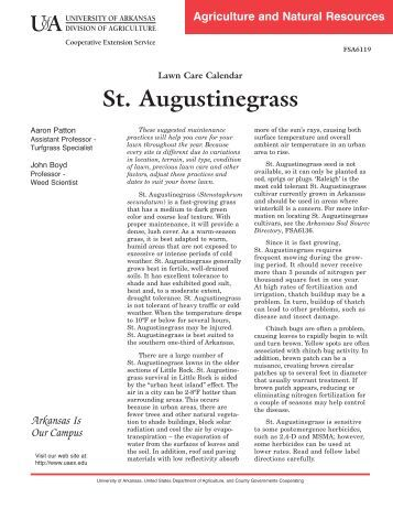 St. Augustinegrass - Lawn Care Calendar - FSA-6119 - University of ...