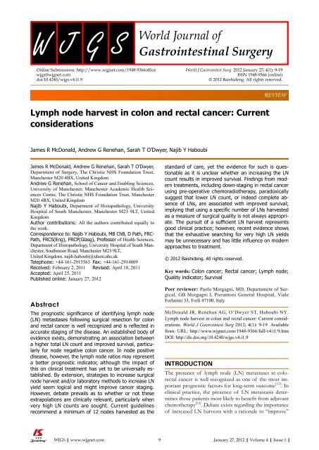 Lymph Node Harvest In Colon And Rectal Cancer World Journal Of