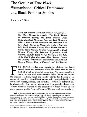 The Occult of True Black Womanhood - American Studies @ The ...