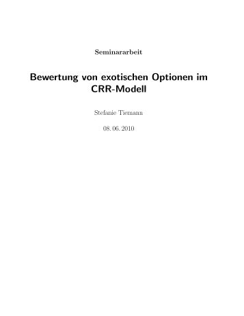 Bewertung von exotischen Optionen im CRR-Modell