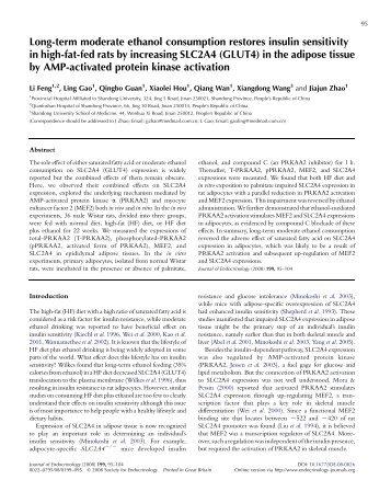 Long-term moderate ethanol consumption restores insulin sensitivity ...