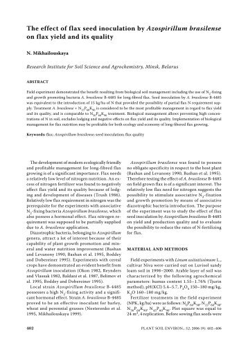 The effect of flax seed inoculation by Azospirillum brasilense on flax ...