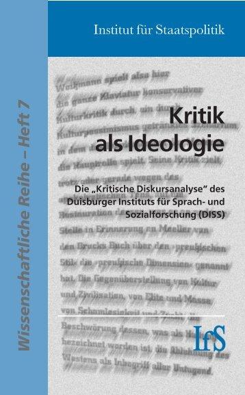 Kritik als Ideologie - Institut für Staatspolitik