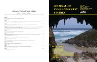 JourNAl of CAVe ANd KArSt StudIeS - National Speleological Society
