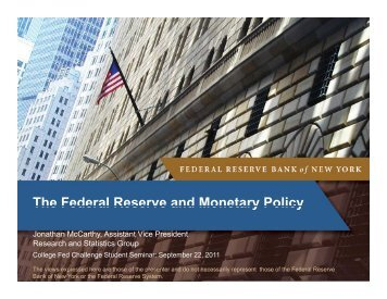 The Federal Reserve and Monetary Policy - Federal Reserve Bank ...