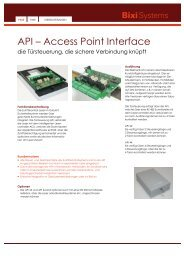 API – Access Point Interface - Bixi Systems AG