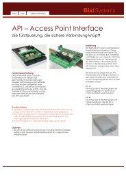 API – Access Point Interface - Bixi Systems AG