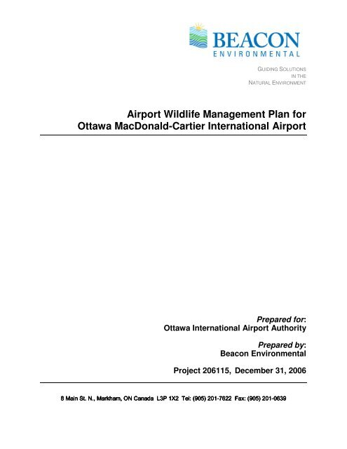 Airport Wildlife Management Plan for Ottawa MacDonald ...