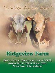 Ridgeview FaRm Definite Difference VIII Sunday, Oct. 11, 2009 • 12 ...