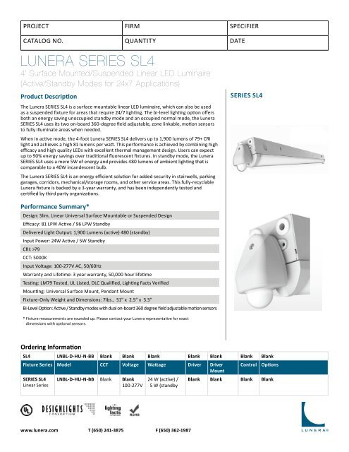 Cut Sheet Lunera Lighting