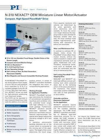 N-310 NEXACT® OEM Miniature Linear Motor/Actuator (PDF)