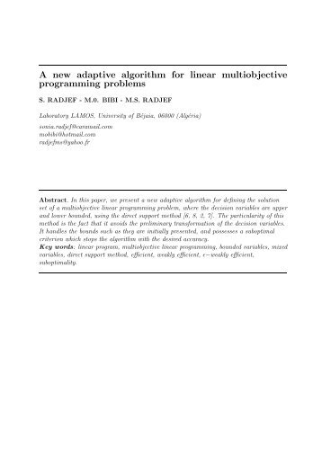 A new adaptive algorithm for linear multiobjective programming ...
