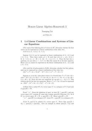 Honors Linear Algebra-Homework 3