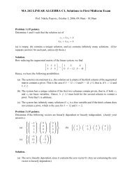 MA 242 LINEAR ALGEBRA C1, Solutions to First Midterm Exam