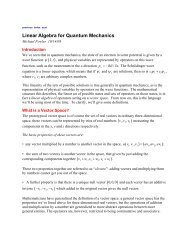 Linear Algebra for Quantum Mechanics - Galileo