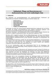 Haltbarkeit, Pflege und Renovierung von ... - Stolz Moebel