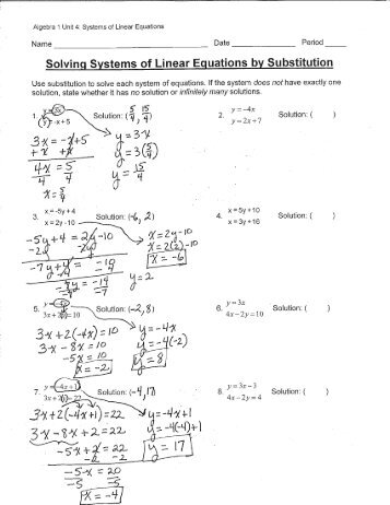 Solving Systems Of Linear Equations By Substitution Worksheet ...