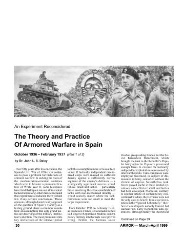 The Theory and Practice Of Armored Warfare in Spain