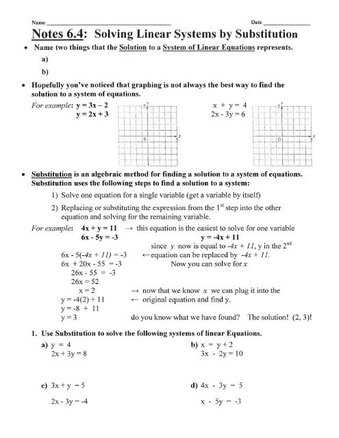 Notes 6 4: Solving Linear Systems by Substitution - KCoyne Math