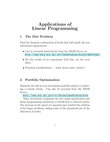 application of integer linear programing Business applications of integer programming, introductiontoquantitativemethods for business application, 153-173 is identical to a linear programming model.