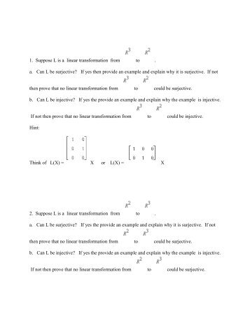 linear transformation 1 Math 304 linear algebra lecture 22: matrix of a linear transformation linear transformation  the composition g2 f g−1 1 is a linear mapping of r.