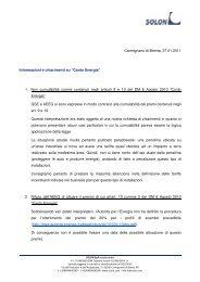 GSE chiarimenti Conto Energia - Solon