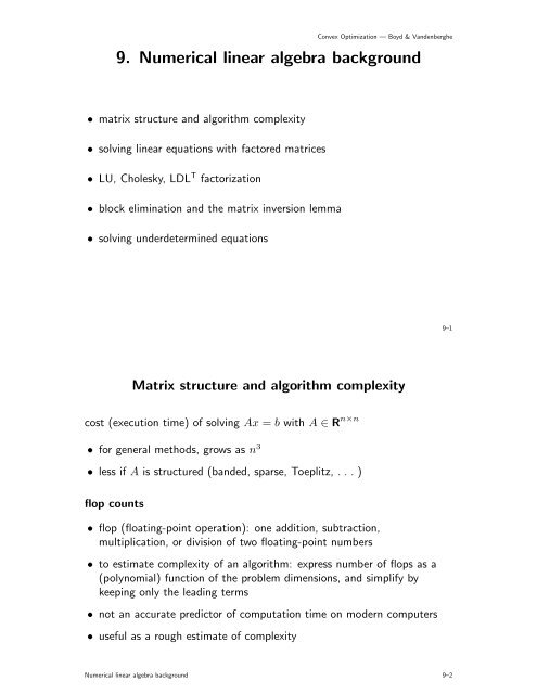 9  Numerical linear algebra background