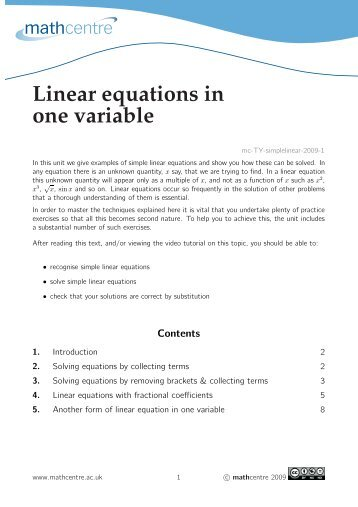 Linear equations in one variable - Mathcentre
