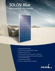 SOLON Blue Polycrystalline solar modules.