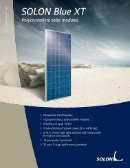 SOLON Blue XT Polycrystalline solar modules.