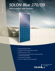 SOLON Blue 270/09 Polycrystalline solar modules.