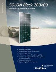 SOLON Black 280/09 Monocrystalline solar modules.