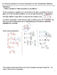 4.2 Solving Systems of Linear Equations by the Substitution Method