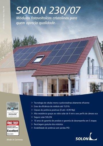 SOLON 230/07 Módulos fotovoltaicos cristalinos para quem aprecia ...
