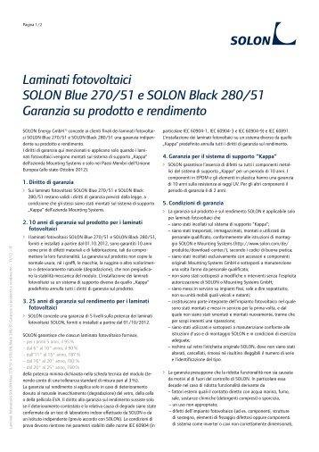 Laminati fotovoltaici SOLON Blue 270/51 e SOLON Black 280/51 ...