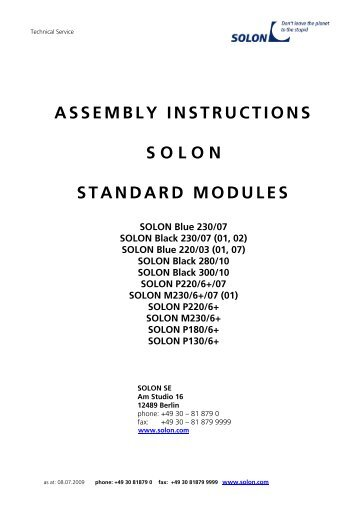 ASSEMBLY INSTRUCTIONS S O L O N STANDARD MODULES