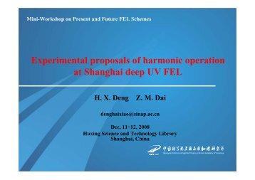 Harmonic Operation of SDUV FEL