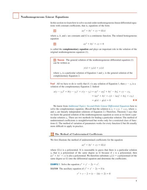 Nonhomogeneous Linear Equations - Stewart Calculus