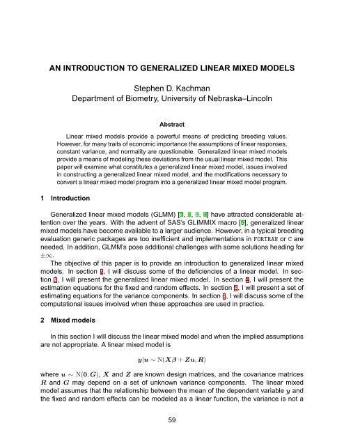 An Introduction to Generalized Linear Mixed Models - Department of