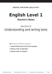 English Level 1 - Edexcel