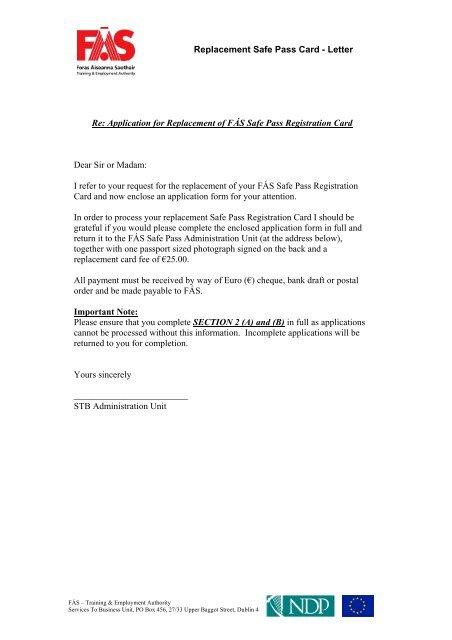 Replacement Safe Pass Card
